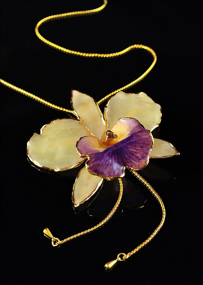 18k 10 48g Heavy Gold Orchid Necklace With South Africa Color F Diamonds