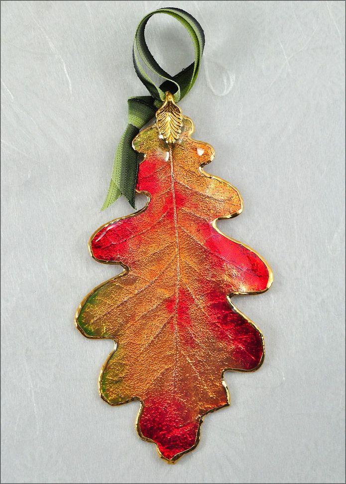real leaf ornaments oak leaf ornament the rose lady